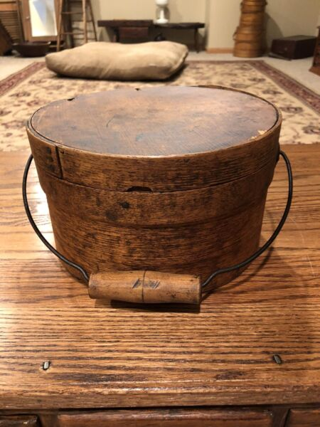 Antique Bentwood Thick Walled Pantry Box With Wood Bail Handle