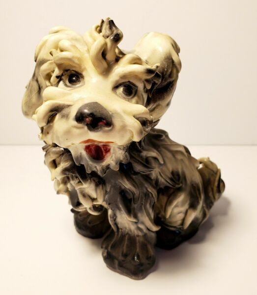 Vtg Spaghetti Dog Made in Italy Terrier Figurine Black White with Red Mouth 5quot; $13.00