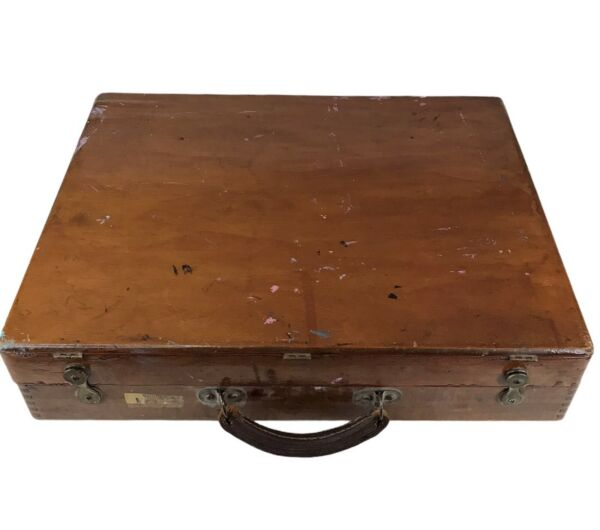 Vintage Wooden Lacquered Art Supply Box