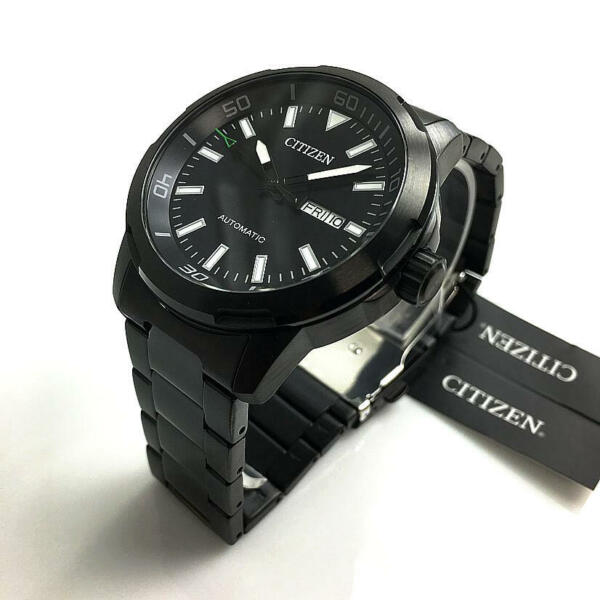 Men#x27;s Citizen Automatic All Black Steel Watch NH8375 82E