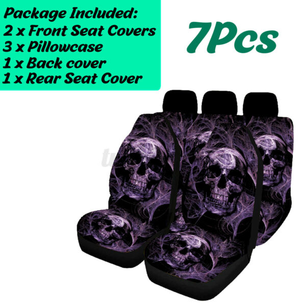 7PC Skull Full Set Car Seat Covers Universal Washable Pet Protectors Fron C $52.13