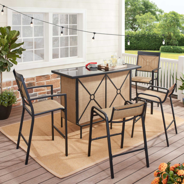 Set Bar Patio Outdoor Furniture Table Chairs 5 Pieces Dining Garden Party Pool $384.87