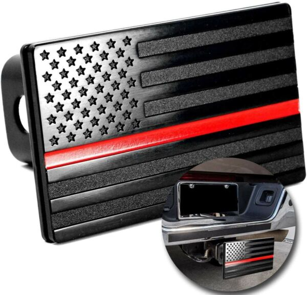 """American Flag Hitch Cover Aluminum Metal Trailer 2"""" Receivers Black Red Line USA $23.77"""