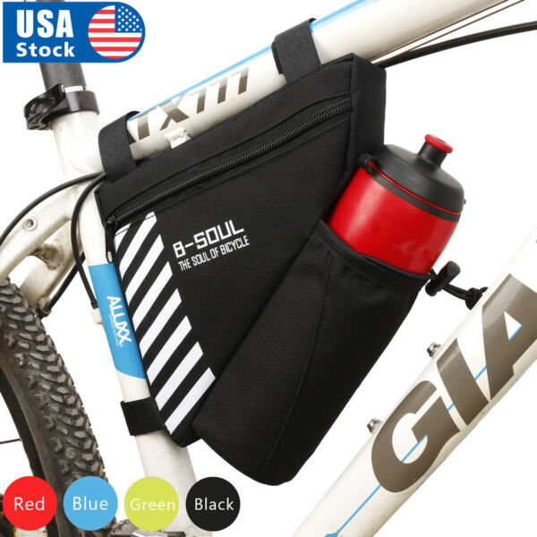 USA Triangle Cycling Bicycle Bike Bag Front Tube Frame Bottle Bag Mountain Pouch $9.98