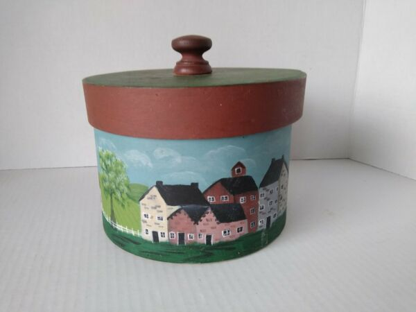 Vintage Pantry wood nesting box w lid and handle. Country painted scenery.