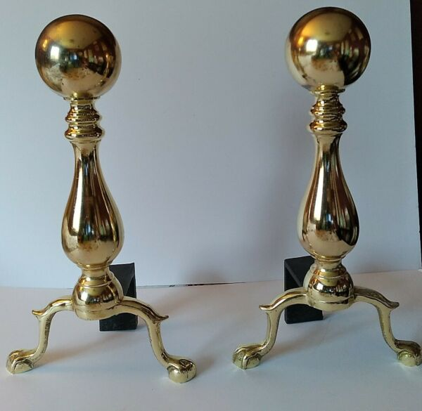 Vintage Heavy Brass amp; Cast Fireplace Andirons Cannon Ball Claw Feet 16 inches