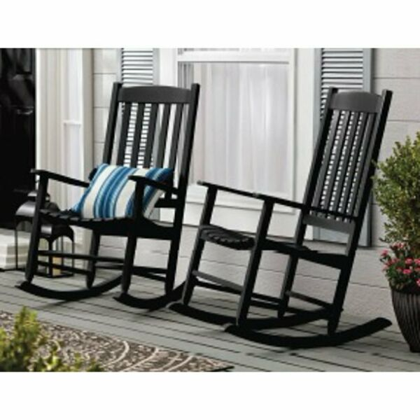 Outdoor Wood Porch Rocking Chair Black Color Weather Resistant Finish $116.82