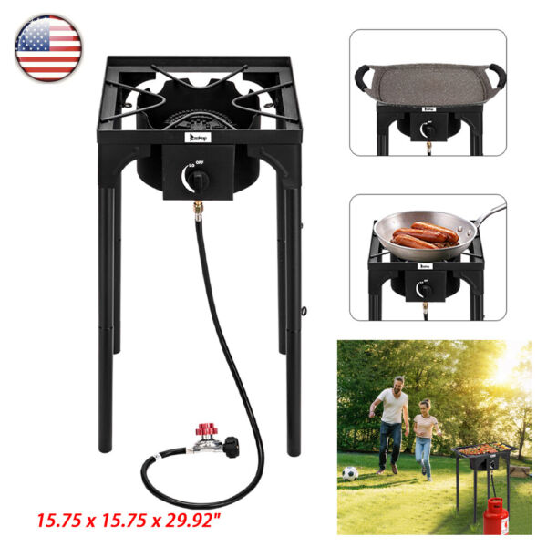 Zokop Single Gas Burner 75000 BTU Portable Propane Outdoor Camp Stove BBQ Grill