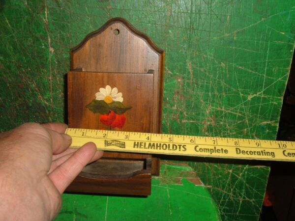 Vintage Wooden Match Box Holder Wall Mount Flower Painted on Front