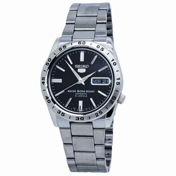 Seiko 5 Automatic Black Dial Stainless Steel Men#x27;s Watch SNKE01 $120.00