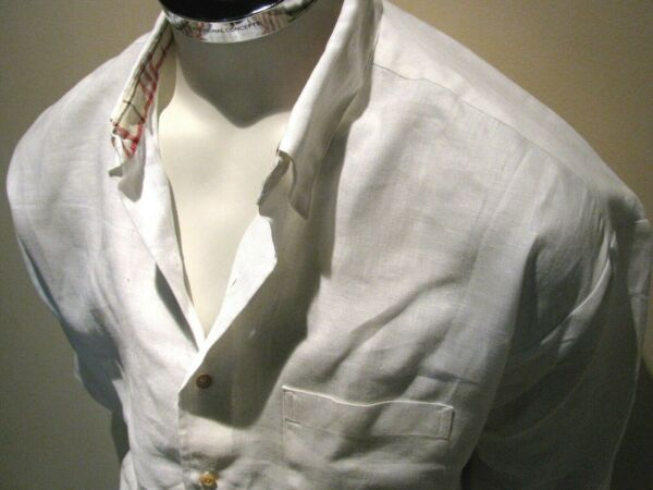 Burberry White Linen Men#x27;s Short Sleeve Button Up Vintage Relaxed Fit Sz XL $45.00