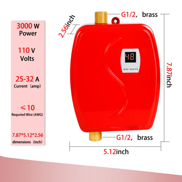 Mini Electric Water Heater Tankless Heater Constant Temperature 3 Seconds Heat $53.02