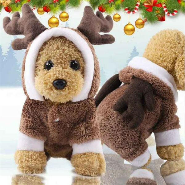 Puppy Dog Christmas Winter Warm Lovely Pet Clothes Brown Elk Coat Apparel Hoodie $6.75
