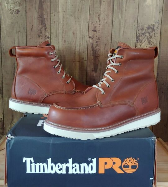 Timberland PRO Mens 6quot; Wedge Sole Soft Moc Toe Work Boots Size 15 W Rust 53009 $108.00