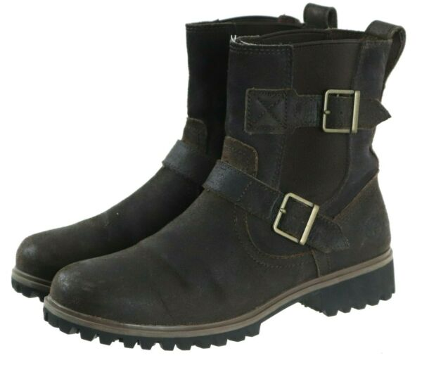 Timberland Women#x27;s Mid Calf Buckled Boots Size 8 Nubuck Leather Brown $42.00