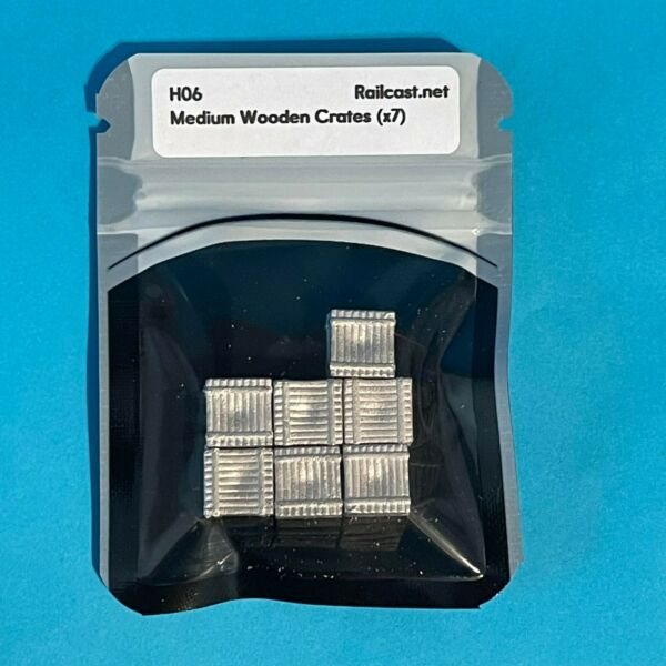HO Scale Pack Of 7 Medium Wooden Crates White Metal Castings Model Railroad