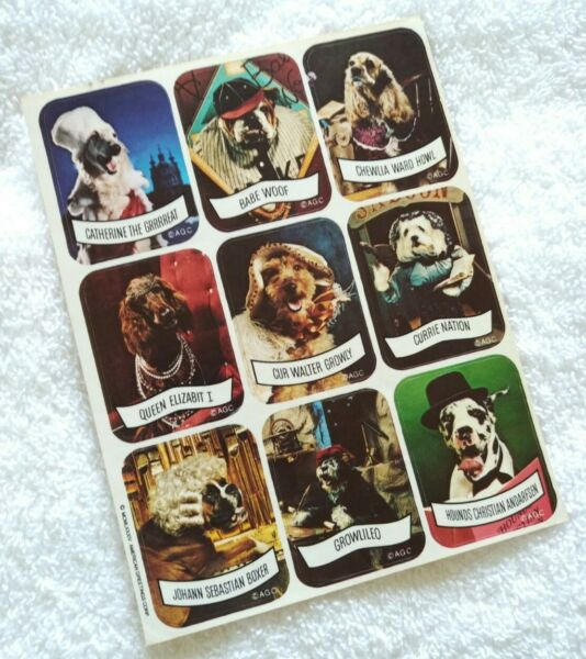 Vintage 80s stickers AGC 1984 funny dog names puppy $5.50