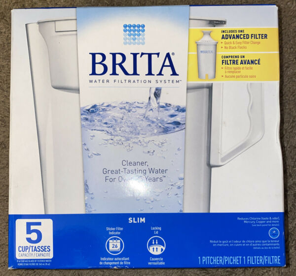 Brita Pitcher Water Filtration System 5 Cup Slim Model With Filter Included