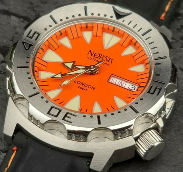 Automatic Sea Monster Watch Norsk Norway Diver Seiko NH36a movement. Orange $99.00