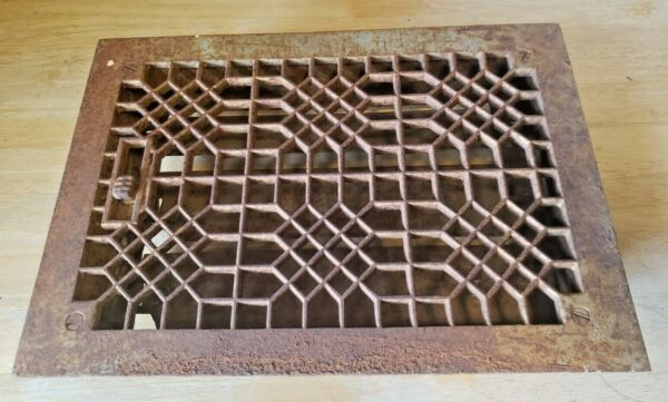 Antique Vintage Cast Iron Floor Grate Heating Vent with louvers