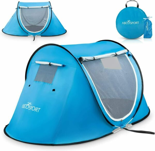 Instant Portable Folding Camping Hiking Outdoor Beach pop up Tent for 2 Sky Blue $94.41