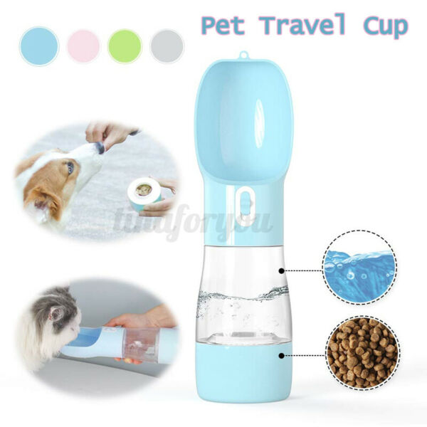 Portable pet dog travel water bottle food feeder dual cup folding bowl $13.12