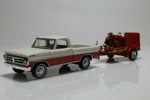 Ford F 100 amp; Indian Scout Motorcycle w Utility Trailer 1:64 Scale Diecast Model $23.95