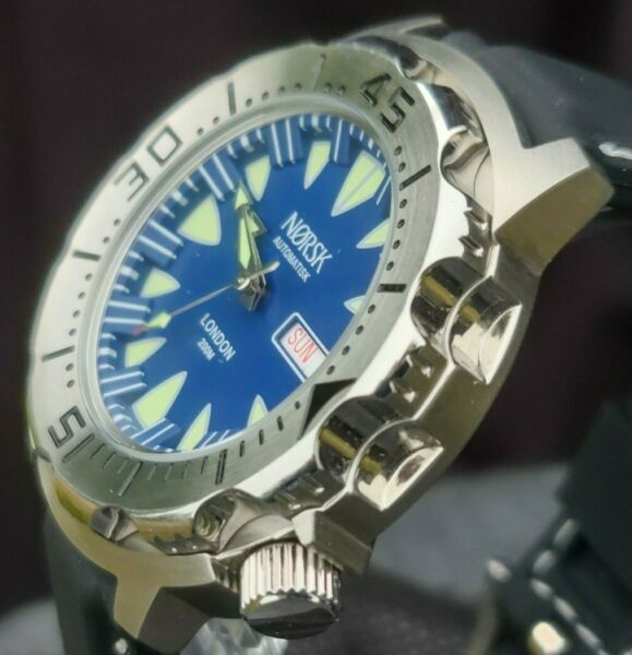 Automatic Sea Monster Watch Norsk Norway Diver Seiko NH36a movement. Blue $99.00