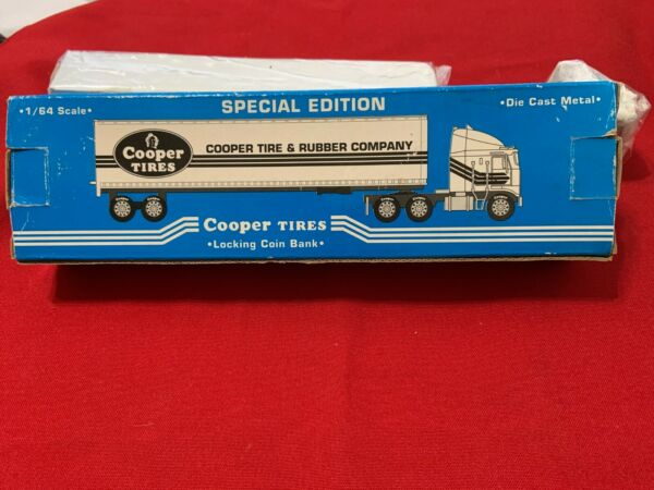 COOPER TIRE amp; RUBBER COMPANY TRACTOR TRAILER LOCKING COIN BANK 1 64 DIE CAST $29.99