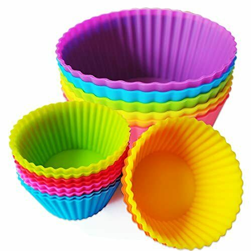 Silicone Baking Cupcake Cups Nonstick 18 Pack Reusable Muffin Liners Jumbo Ca...