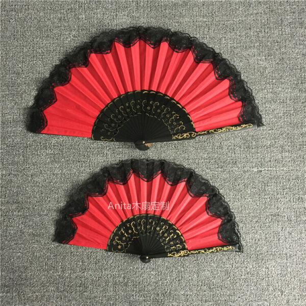 Spanish Style Red Folding Dance Black Lace Hand Held Wood Fan Wedding Party Gift $27.54