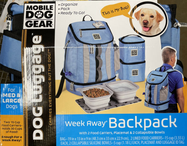 Mobile Dog Gear Blue Backpack With Placemat amp; 2 Collapsible Bowls $42.99