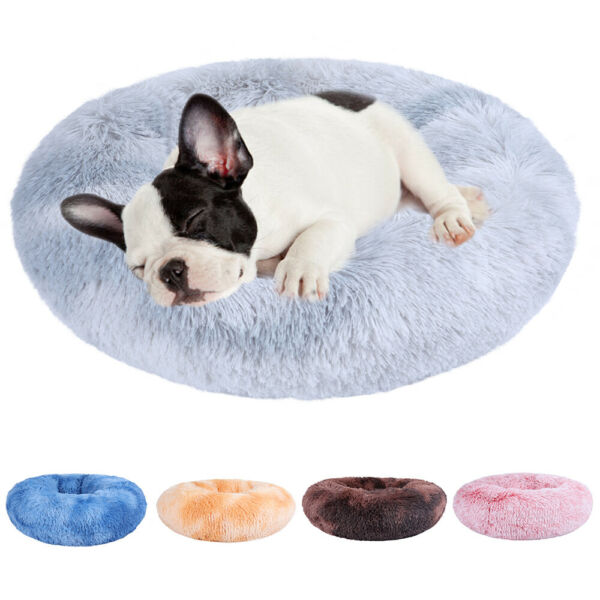 Soft Pet Bed Faux Fur Donut Cuddler for Dog Cat Joint Relief Improved Sleep $18.99