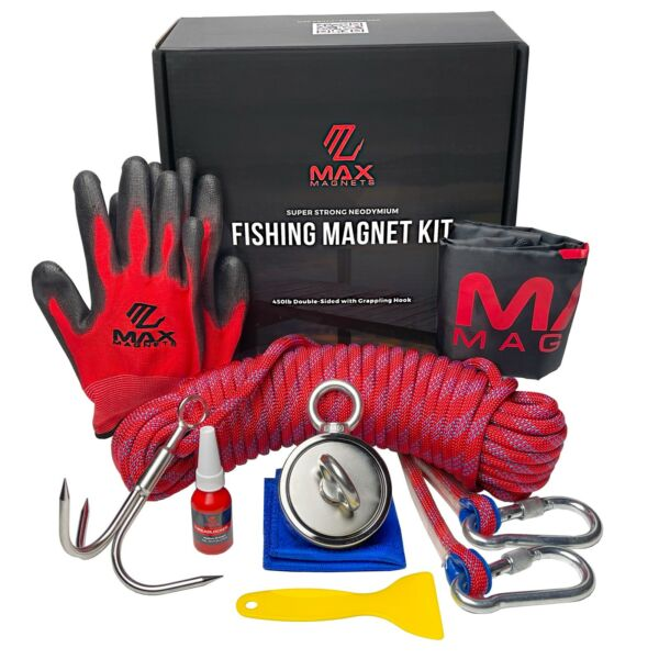 Magnet Fishing Kit Double Sided 1000 LB Pull Complete 8pc Set Grappling Hook $39.99