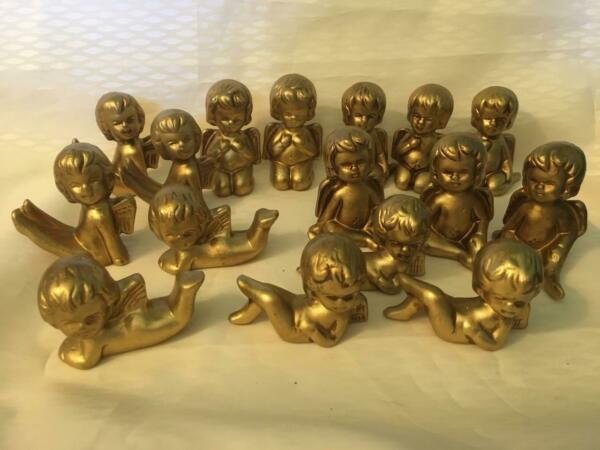 Lot of 16 Assorted Gold painted Angel small figurines EUC $14.95