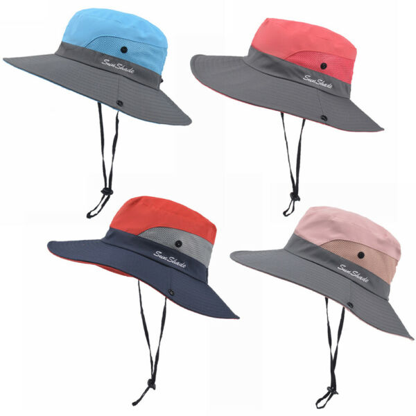 Womens UV Protection Wide Brim Sun Hats Cooling Mesh Ponytail Hole Cap Foldable