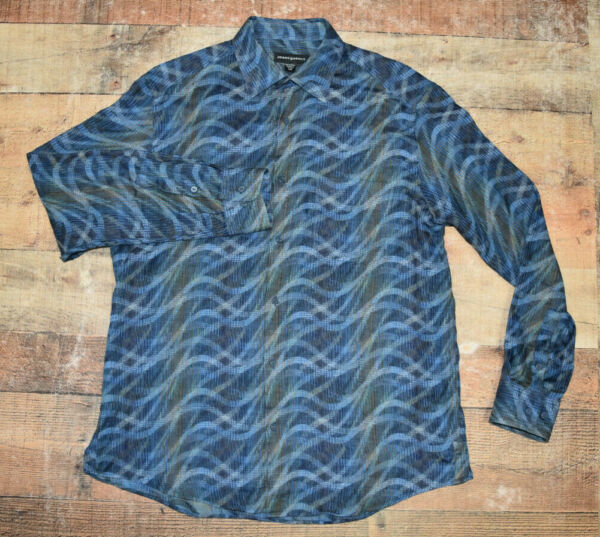 Jhane Barnes Woven In Japan Men Blue Abstract Waves L S Button Front Large B31 $19.99