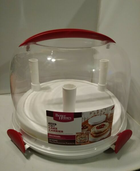 Better Homes amp; Gardens 3 in 1 Round Cake cupcake Carrier with Clear Cover 13quot;