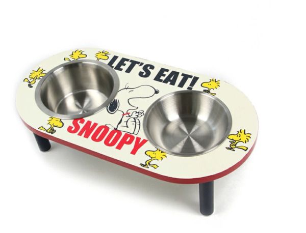 PEANUTS Snoopy Double Food Bowl Wooden Dog Feeder Stand Tableware Red JAPAN NEW $126.00