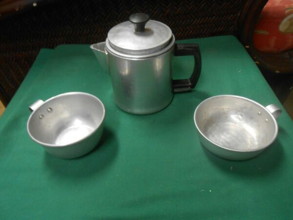 Vintage Aluminum CAMPING COFFEE POT and 2 CUPS