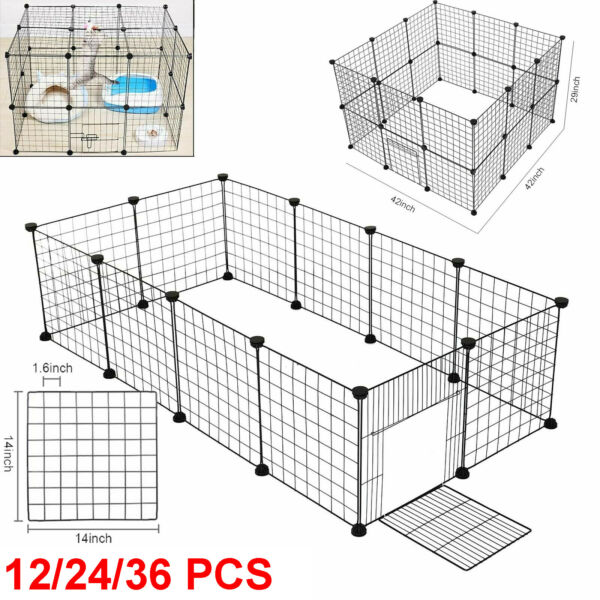12 24 36 Panel Metal Tall Dog Playpen Large Crate Fence Pet Cat Exercise Cage