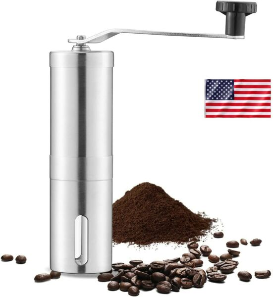 Manual Coffee Bean Grinder Stainless Steel Hand Coffee Mill Ceramic Burr US Ship