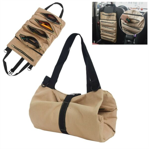 Tool Roll Up Bag Waxed Canvas Pouch Tools Tote Carrier Holder per Small Tool $15.48