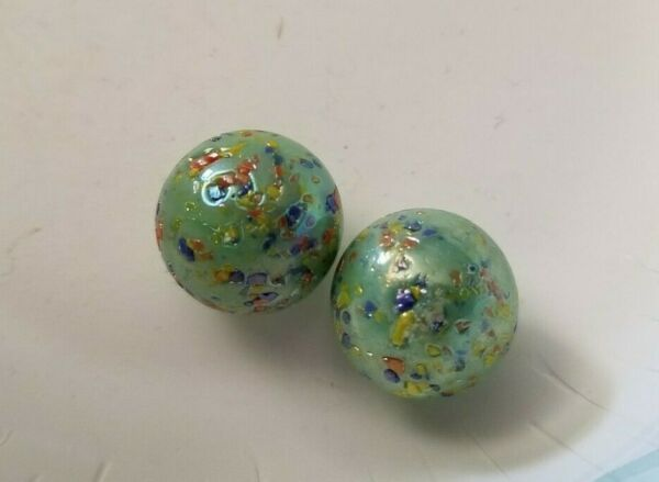 LOT OF 2 Heaton Swirls Agate Bogard Marbles ON GREEN GOLD SPARKLES RED BLUE DOTS $2.70
