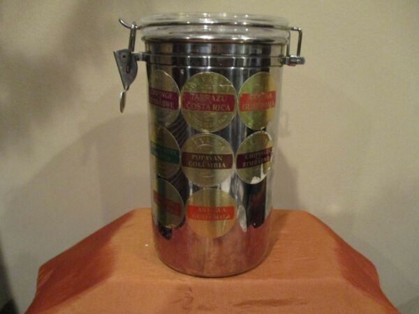 Furio Stainless Steel Hinge Top Coffee Storage Canister 8 1 2quot; Tall 1pc
