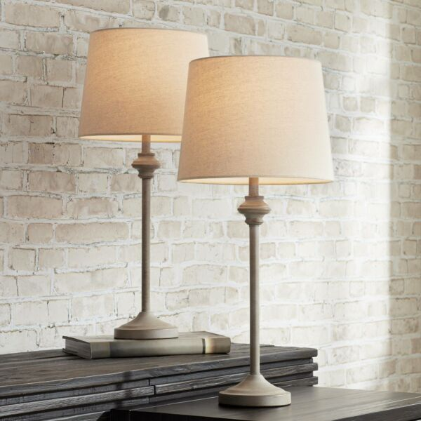 Country Cottage Buffet Table Lamps Set of 2 Light Beige Wood for Dining Room $49.95