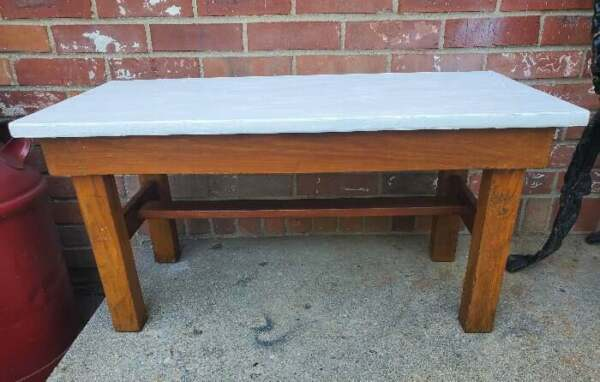 Primitive Bench White Painted Seat Made From Antique Crate Box