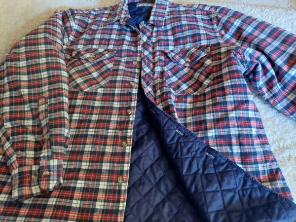 Men#x27;s Vintage Outdoor Exchange Plaid Quilted Lined Flannel Shirt Big Tall XL $18.99