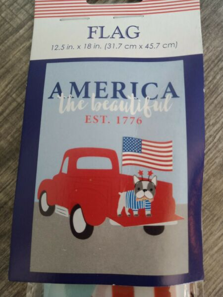 GARDEN FLAG RED PICKUP TRUCK USA DOG AMERICA THE BEAUTIFUL W ROD amp; CORD New $5.95