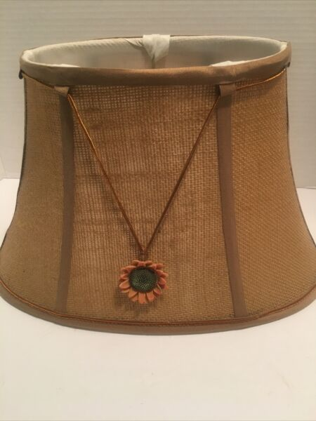 Vintage Burlap Lamp Shade With Sunflower 13.5 X8X 8.5